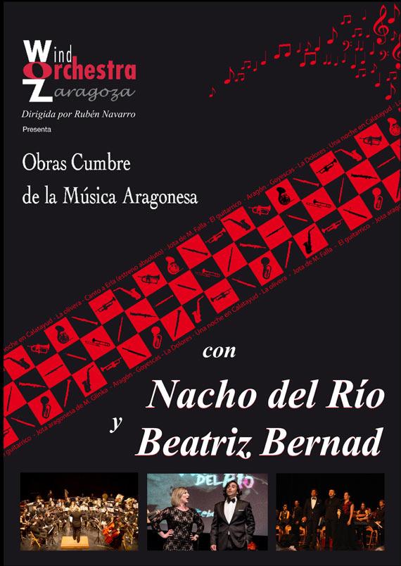 Beatriz Bernad y Nacho del Río junto a la Wind Orchestra Zaragoza