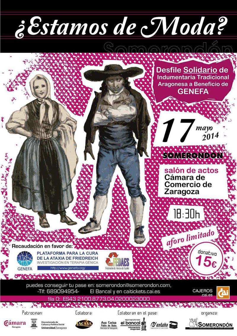 Desfile de indumentaria tradicional aragonesa a beneficio de Genefa, con Somerondón